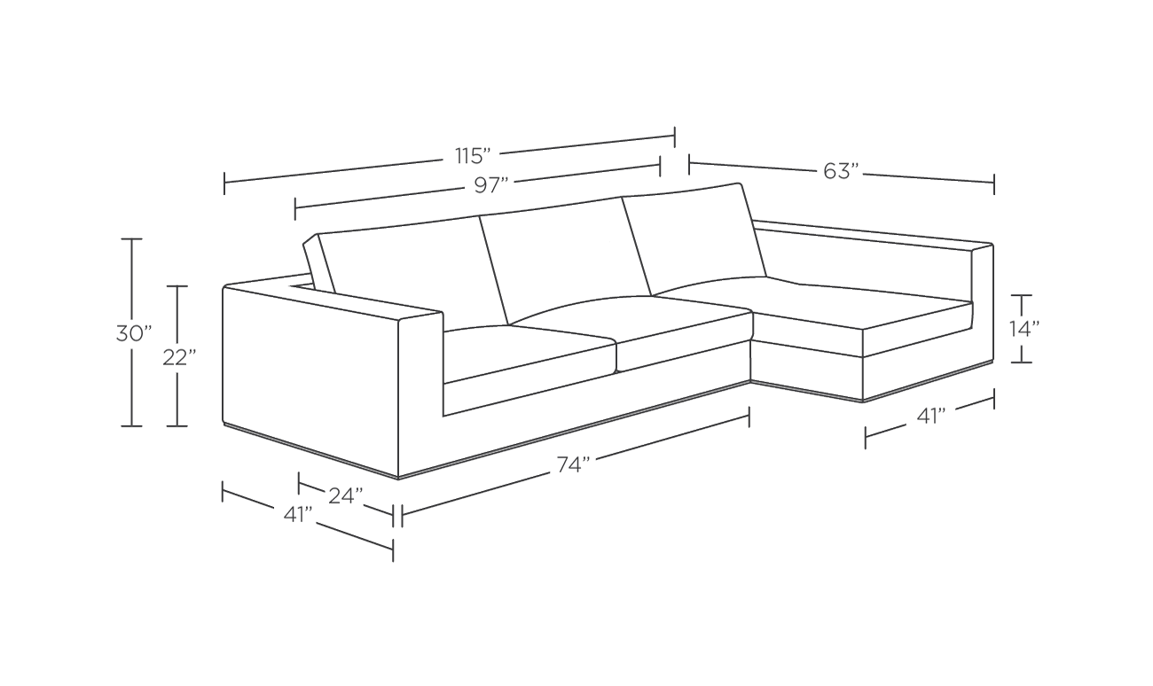 Modern Sectional Sofa Dimensions Sectional Sofa Measure...