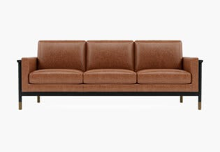 Interior Define: Jason Wu Sofa · Pecan Leather with matte black frame